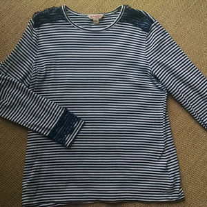 Brooks Brothers  Navy Striped Top Large